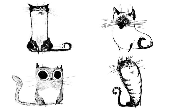réaliser des dessins amusants et faciles au crayon, exemples de chat dessin facile à faire pour débutants