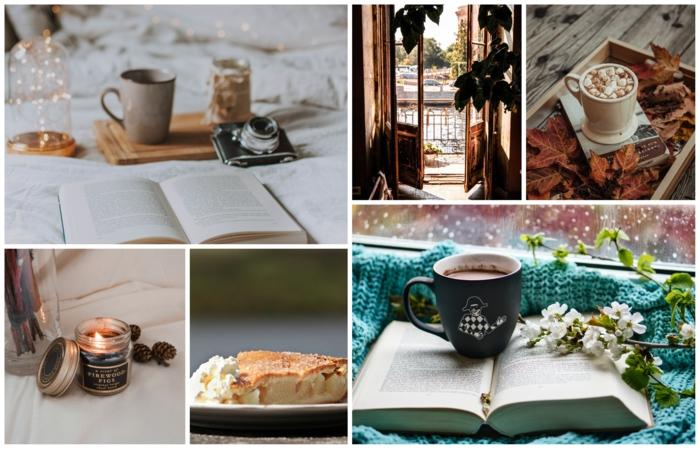 Bougie aromatique, café sur livre, fond d écran cocooning, belle image pour desktop portable