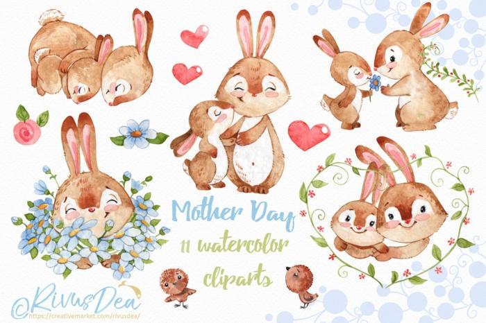 Lapin adorable dessin aquarelle choisir son favori et le reproduire coloriage bonne fete maman, images fête des mères a offrir comme cadeau