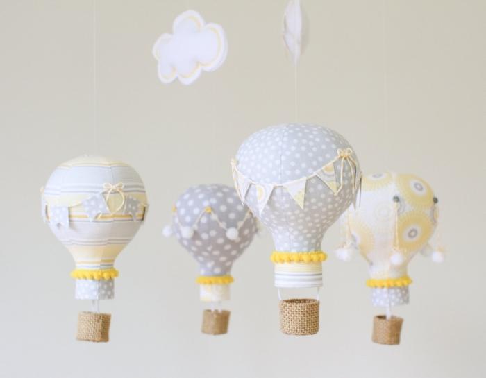 idée d activité manuelle facile pour décorer la chambre d'enfant, diy suspension avec ballons en gaz fait d'ampoules électriques et tissu