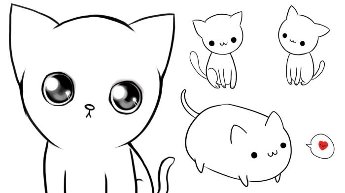 faire un dessin de chat facile avec les enfants, modèles de petits chats à dessiner au crayon avec les petits