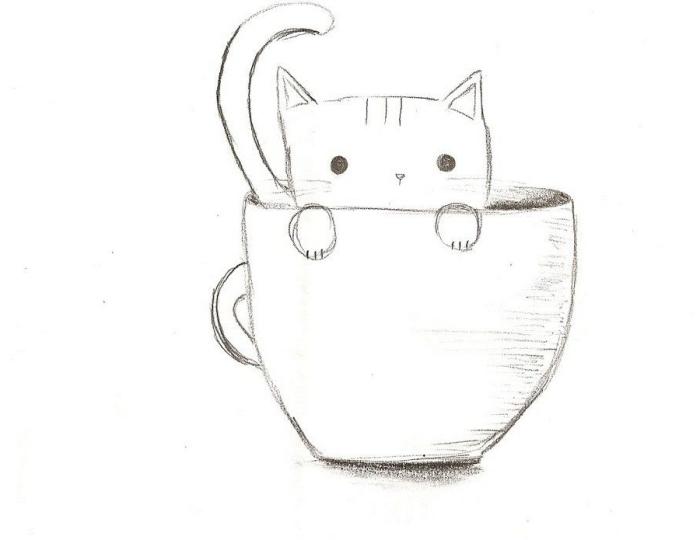 modèle de dessin de chat facile pour débutants, apprendre à dessiner un petit chat dans une grande tasse de café