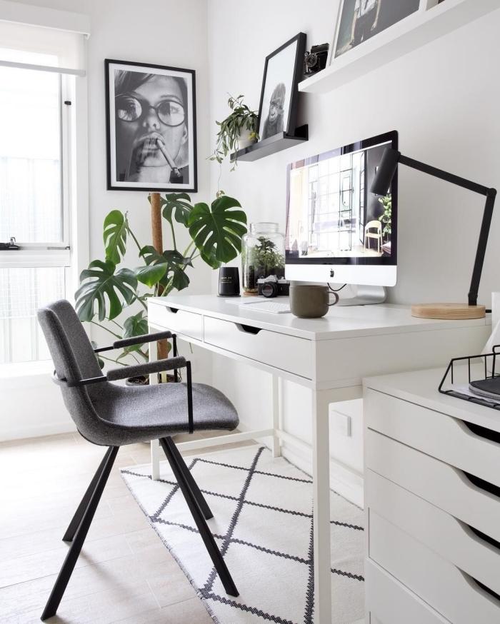 petit coin de travail dans un salon blanc de style moderne aménagé en blanc et noir, plantes vertes d'intérieur photos