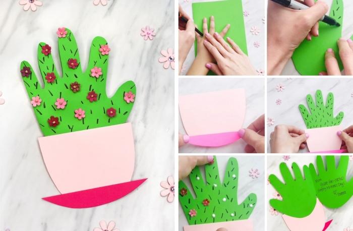 exemple comment réaliser une carte fête des mères maternelle avec empreinte de petite main d'enfant sur papier cartonné