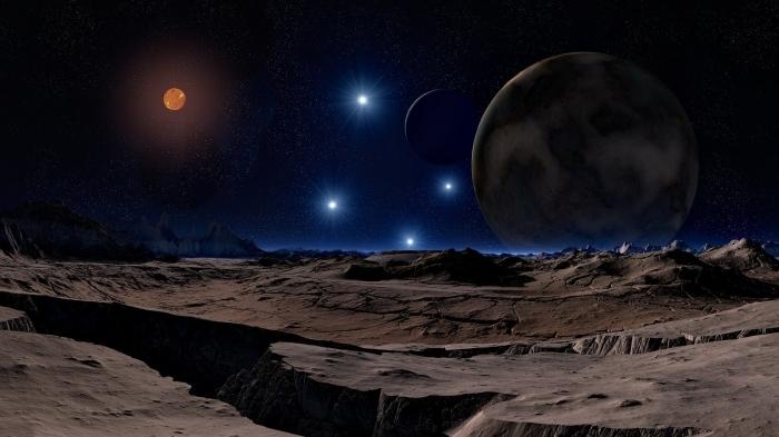 fond d écran univers pour customiser son ordinateur, image planètes et pleine lune rouge comme wallpaper PC original