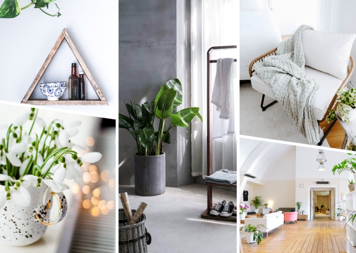 idée rangement simple dans un décor minimaliste, design chambre scandinave aux murs blancs et meubles en bois clair diy