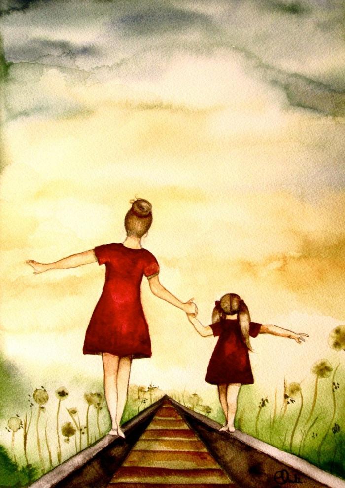 Mère et enfant en promenade dans la nature en robes rouges cadeau fête des mères à fabriquer, images fête des mères original