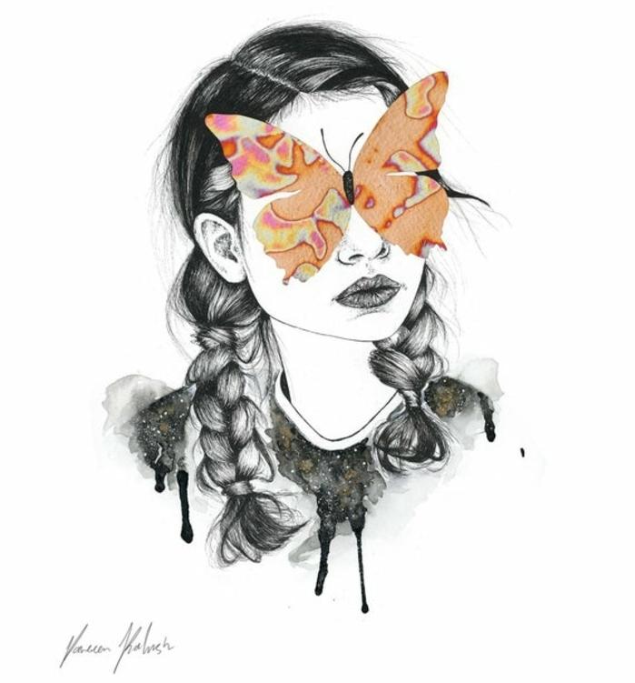 Fille avec tresses et papillon pour yeux dessin papillon, faire ses debuts au dessin imiter une image