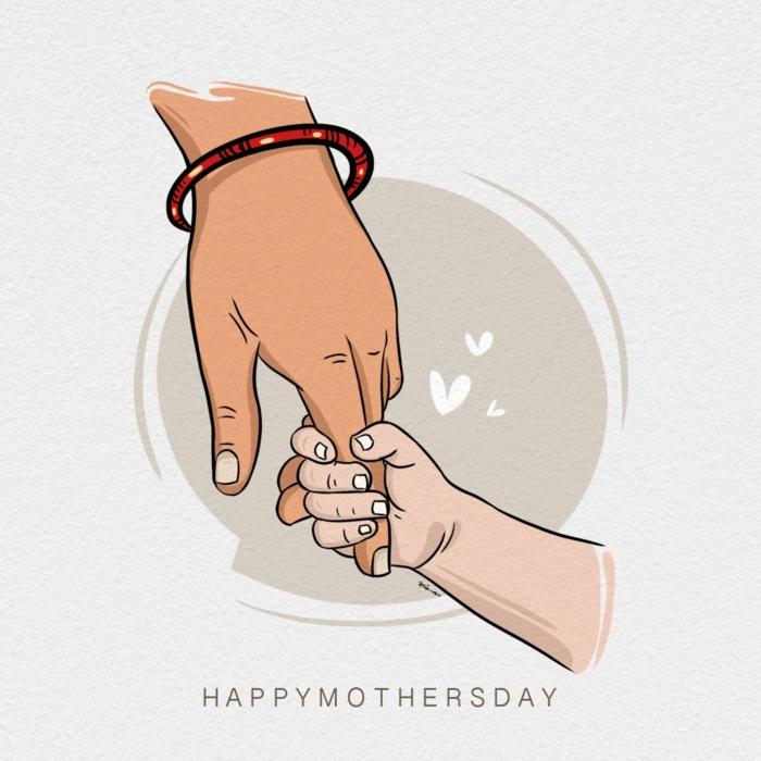 Main maman et bébé carte fête des mères maternelle, images fête des mères à partager