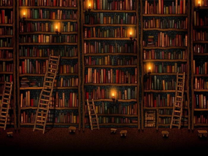 Bibliothèque avec beaucoup de livres dessin fond ecran hiver, belle maison comfort de chez soi photo swag