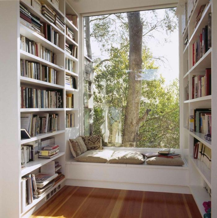 Les grands fenetres comment les utiliser, elargir l'espace optique illusion, bibliotheque avec livres, canapé de coussins