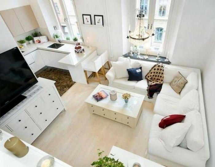 Blanc canapé en angle, idée déco appartement, amenagement petit espace à décorer pour soi