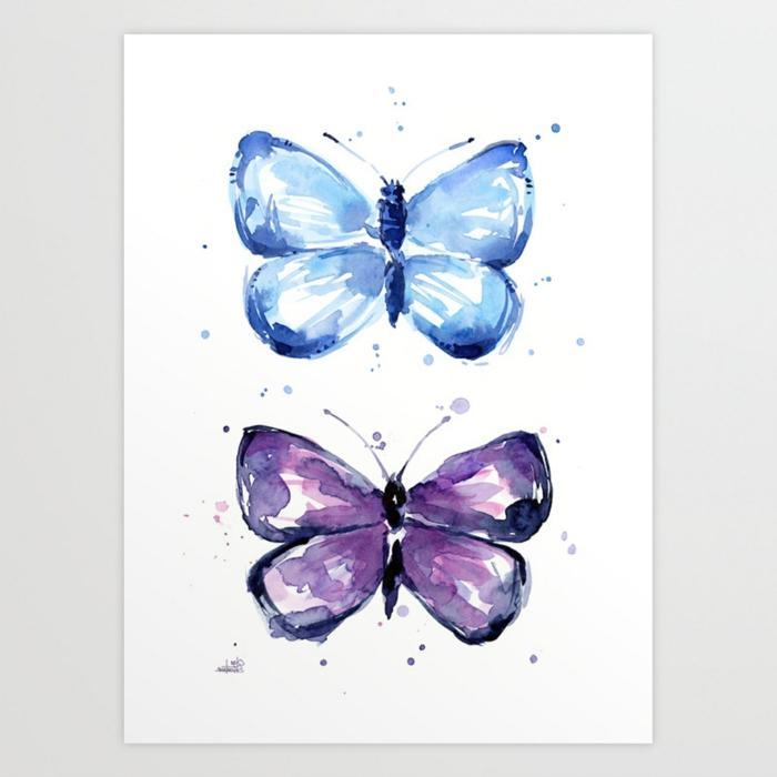 Aquarelle peinture image papillon bleu et violet, comment dessiner un papillon facile retracer