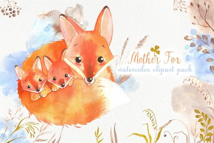 Renard aquarelle tuto dessin pour enfant, idée de cadeau simple images fête des mères