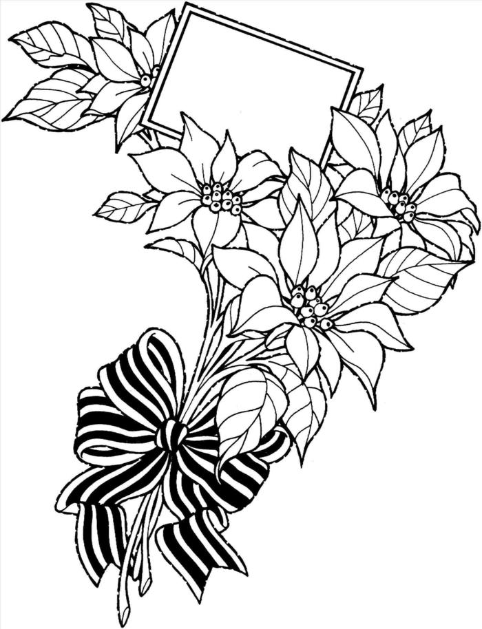 Bouquet de fleurs avec endroit pour carte idée comment dessiner une fille, beau coloriage fête des mères