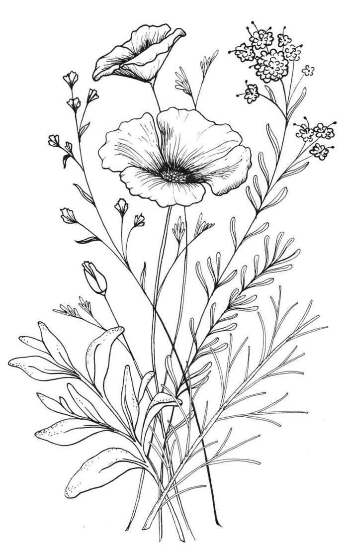 Bouquet de fleurs de champs mère enfant dessin simple, dessiner et colorier une image pour la fete