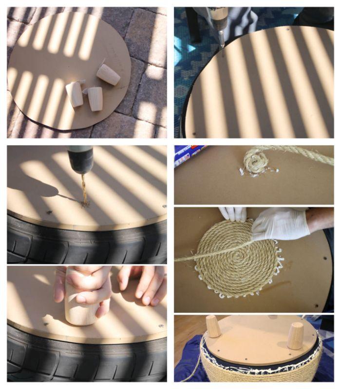 exemple de deco jardin recup, tuto pour fabriquer une table basse de jardin en pneu recyclé avec corde