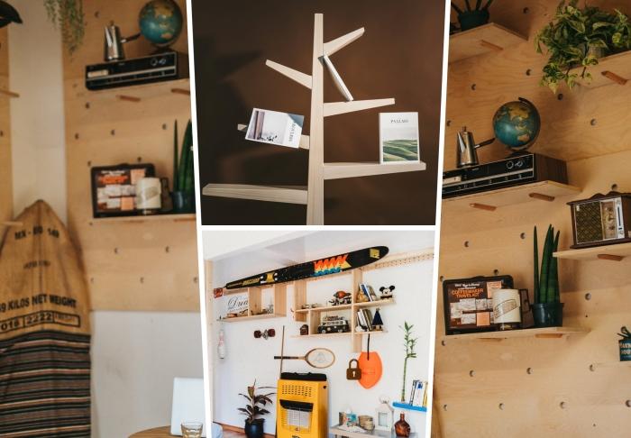 idée rangement facile à fabriquer soi-même avec matériaux de récupération, modèle étagère pour livre avec morceaux de bois