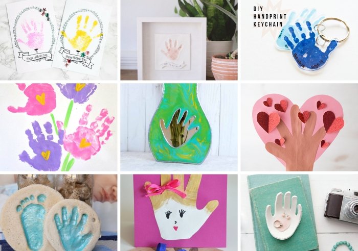 idées quels objets à réaliser avec une empreinte de main, loisir créatif pour faire un cadeau pour mère original avec empreinte