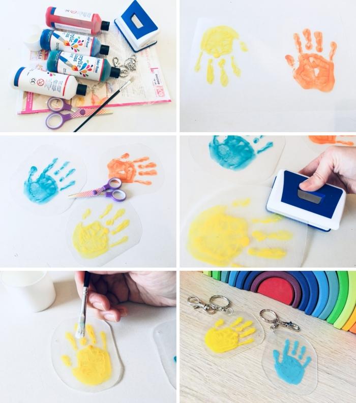 tutoriel comment fabriquer un porte-clé avec film rétractable, modèle de cadeau fête des mères à fabriquer avec peinture