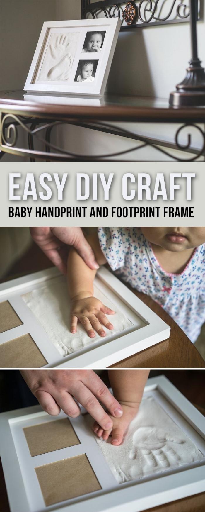 exemple comment réaliser un cadre décoratif avec mpreinte pied bébé, diy objet de décoration originale pour maman
