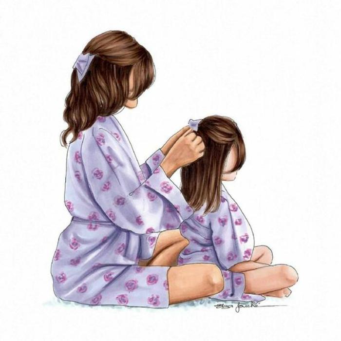 Mère qui coiffe les cheveux de son enfant carte de voeux fait main dessin pour la fête des mères cadeau carte
