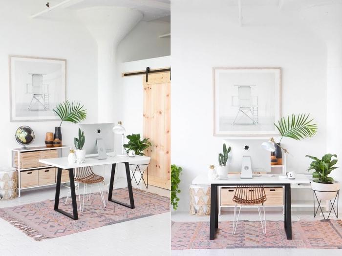 quelles sont les plus belles plantes d'intérieur pour décorer son home office, idée de bureau domicile moderne en blanc et bois