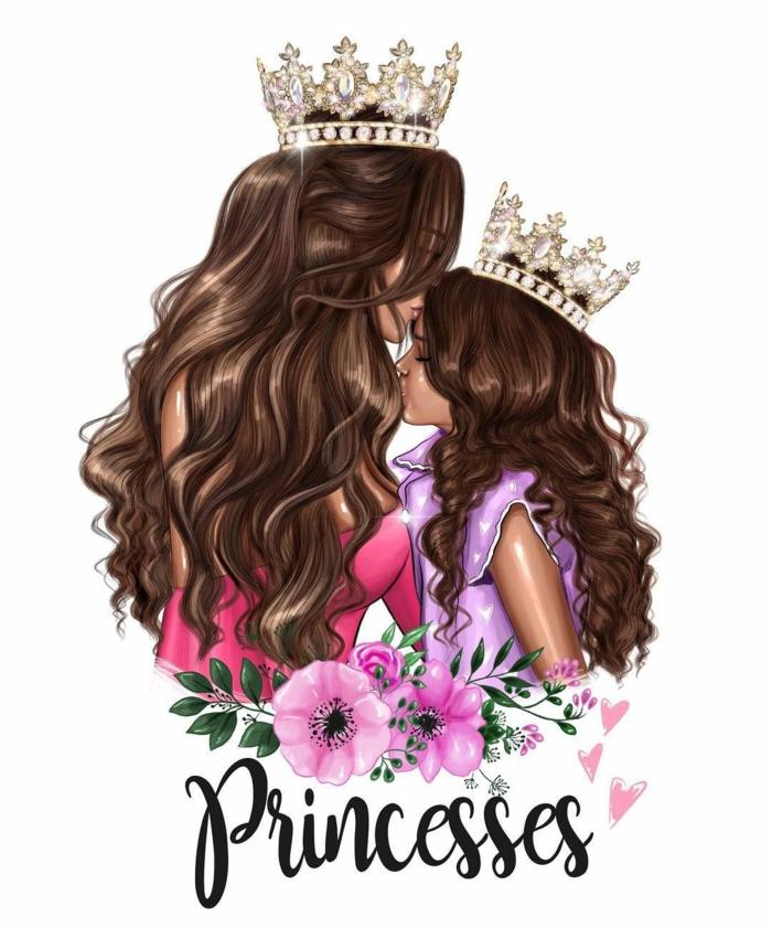 Dessin mere fille princesses loisir créatif carte de voeux pour la fête des mères a faire soi meme