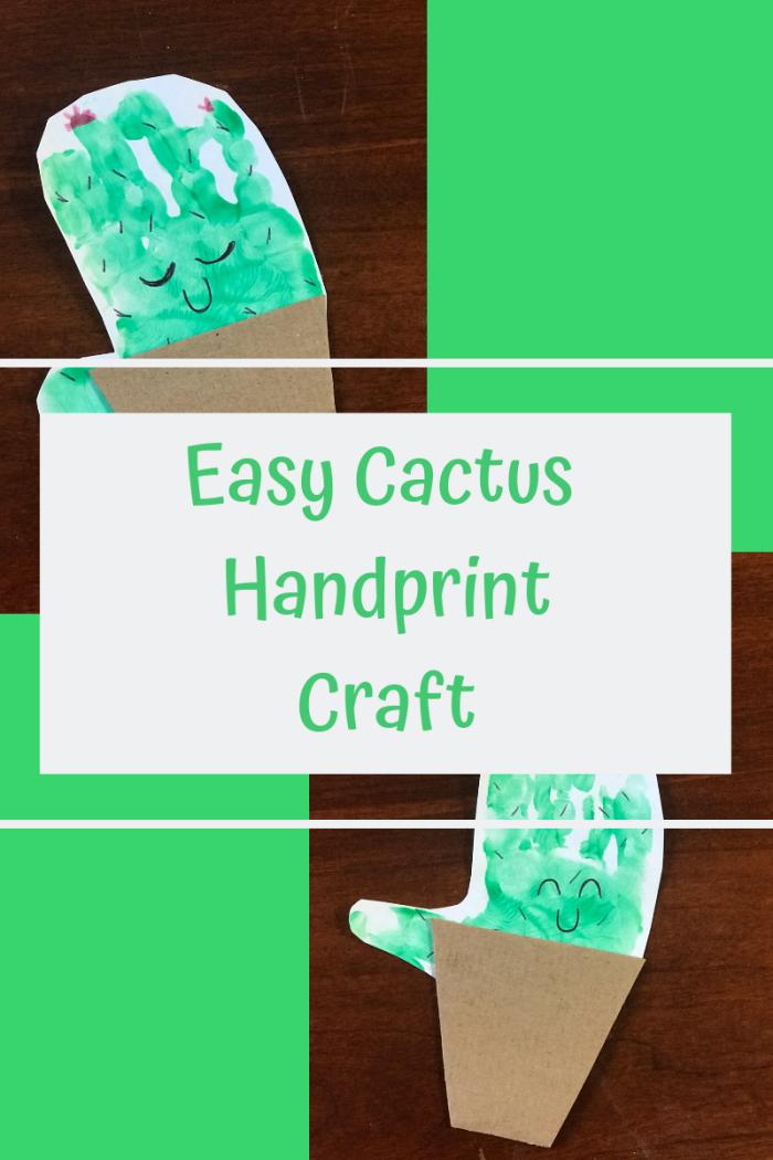 faire une carte pour mère avec empreinte, idée de bricolage fête des mères pour tout petit, diy carte en forme de cactus