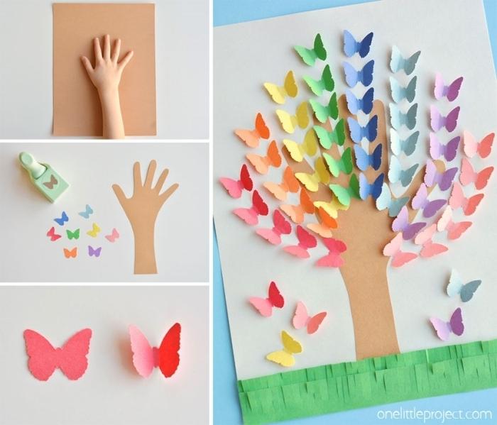 idée de bricolage fête des mères maternelle avec papier, tutoriel comment faire un arbre en empreinte d'enfant avec papillons 3d