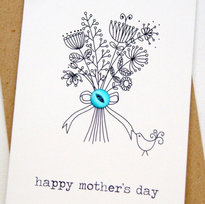 Carte dessin bouquet activité manuelle pour enfants, dessin pour la fête des mères