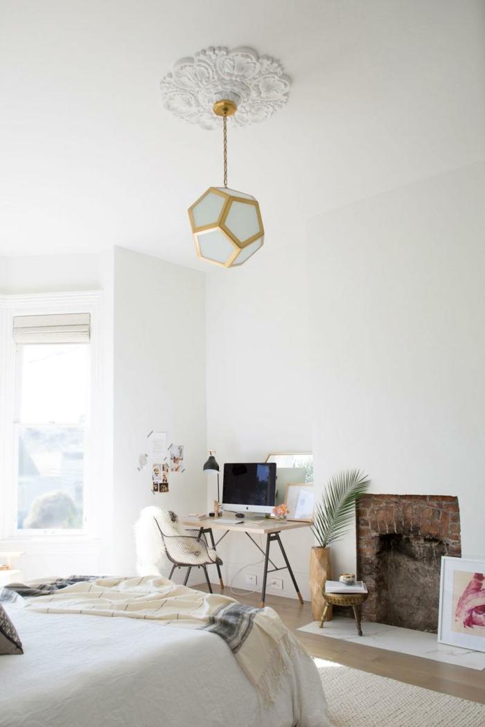 Chambre à coucher, coin bureau, aménagement studio 25m2 ikea, la meilleure idée déco appartement lustre geometrique