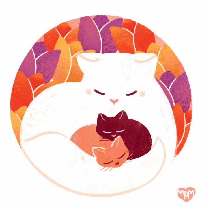 Chat avec ses deux petits chatons dessin fete des mere, dessin à reproduire et colorier pour sa maman