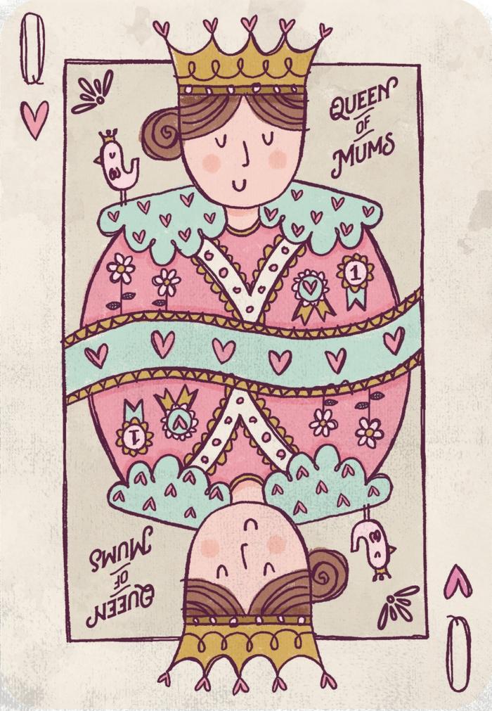 Carte reine des coeurs images fête des mères, dessin reproduction et coloriage bonne fete maman