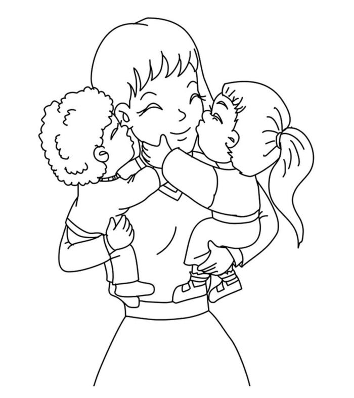 Simple dessin a essayer a reproduire coloriage fête des mères, carte de voeux cadeau fête des mères à fabriquer
