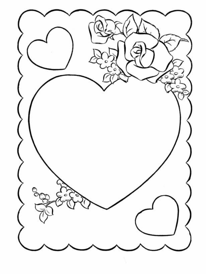 Coeur et fleurs pour carte de voeux a colorier ou reproduire dessin fête des mères, cadeau fête des mères à fabriquer simple dessin