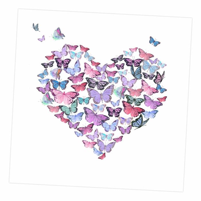 Coeur de papillons colorés différentes, comment faire un papillon dessin couleur, dessin facile a faire