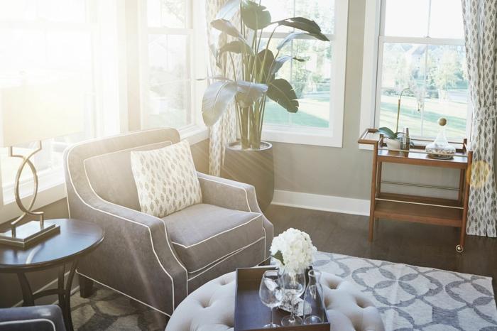 Fauteuil gris chic déco luxueuse, plante verte haute déco de petit appartement, amenagement studio 20m2 coin activité