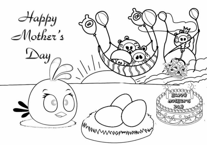 Coloriage dessin fête des mères noir et blanc angry birds a colorier, cadeau fête des mères à fabriquer simple dessin