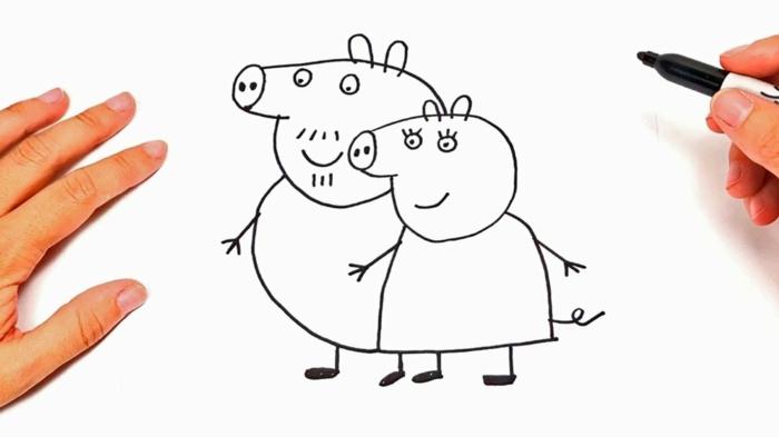 Pepa Pig coloriage fete des meres, dessin pour carte fête des mères maternelle le couchon pepa