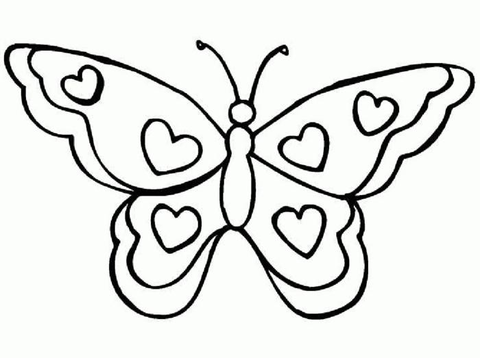 Dessin simple parfait pour coloriage enfant, papillon à colorier, un beau papillon a dessiner simplement et colorier