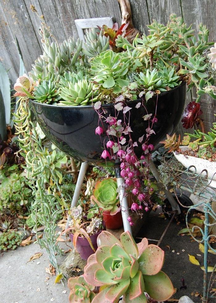 idee deco jardin facile avec barbecue recup décoré de succulents, décoration jardin extérieur créative