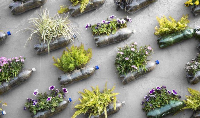 deco mur de bouteilles en plastique avec des fleurs plantées, faire un mur vegetal exterieur, que faire avec bouteilles en plastique