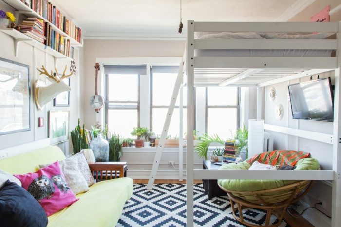 Studio avec lit sur le deuxieme etage quelle est la meilleure deco appartement, aménagement petit appartement