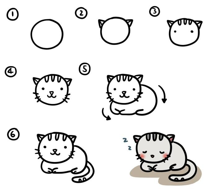 apprendre aux enfants de faire un dessin de chat facile à l'aide d'un tutoriel simple en formes géométriques ovales et triangulaires