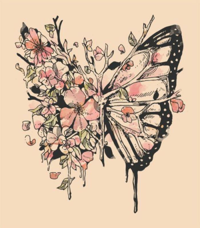 Art dessin papillon image lungues et fleurs, originale idée metaphore de la nature coloriage de papillon, papillon dessin couleur idee a dessiner