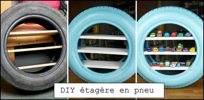 tutoriel facile pour faire un rangement garage de jouets en pneu et planches de bois, idée comment ranger sa chambre