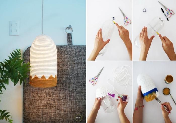 idées loisirs créatifs pour adulte, projet créatif pour réaliser une lampe suspendue en bouteille en plastique et corde