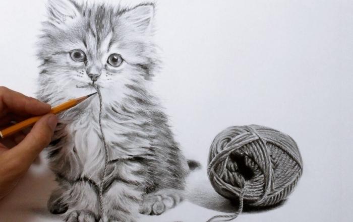 apprendre a dessiner un chat au crayon, modèle de dessin mignon d'un petit chaut qui joue avec corde
