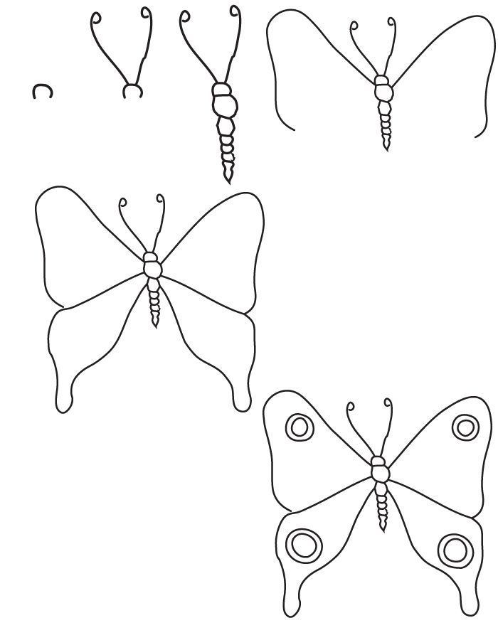 Comment dessiner un papillon, instruction par etape tutoriel simple pour dessin de papillon